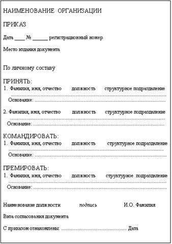 унифицированные формы приказов по личному составу